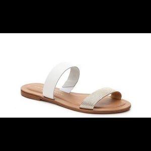 Mercanti Fiorentini Leather White Metallic Sandals
